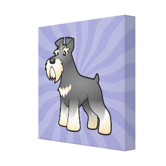 Cartoon Giant/Standard/Miniature Schnauzer Canvas Print