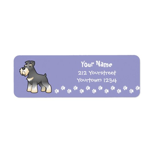 Cartoon Giant/Standard/Miniature Schnauzer Return Address Label