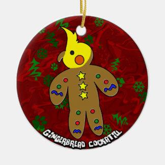Cartoon Gingerbread Cockatiel Christmas Ornament