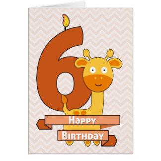 Cartoon Giraffe for Child's Birthday Card