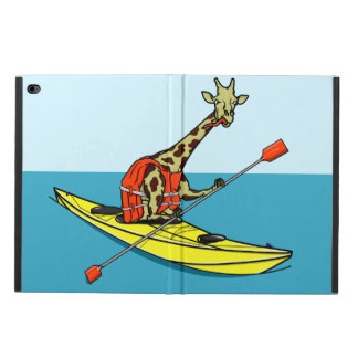 Cartoon Giraffe in a sea kayak