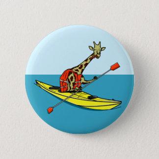 Cartoon Giraffe in a sea kayak 6 Cm Round Badge