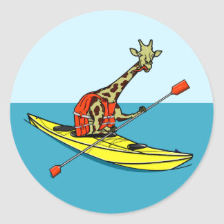 Cartoon Giraffe in a sea kayak Classic Round Sticker