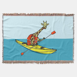 Cartoon Giraffe in a sea kayak Throw Blanket