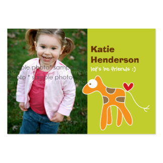 Cartoon Giraffe Kids Custom Photo Playdate Card Business Card Templates