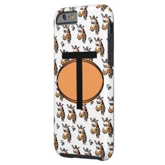 Cartoon giraffe pattern all over and monogram. tough iPhone 6 case