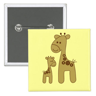 Cartoon Giraffe Print Button 2 Inch Square Button
