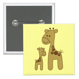 Cartoon Giraffe Print Square Button 2 Inch Square Button