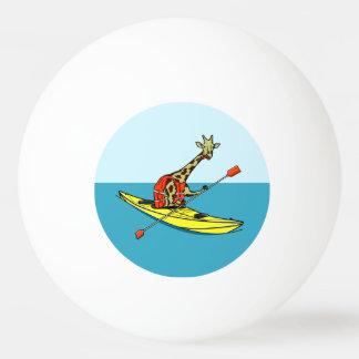 Cartoon giraffe sea kayaking