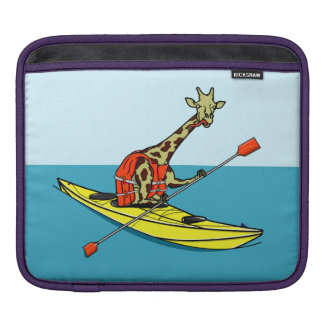 Cartoon giraffe sea kayaking sleeve for iPads