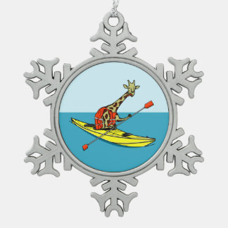 Cartoon giraffe sea kayaking snowflake pewter christmas ornament