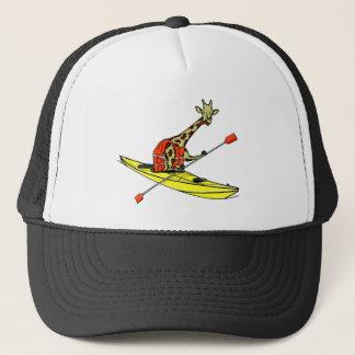 Cartoon giraffe sea kayaking trucker hat