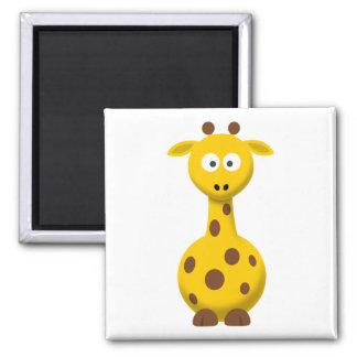 Cartoon Giraffe Square Magnet