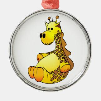 Cartoon Giraffe Stuffed Toy Refined Silver-Colored Round Decoration