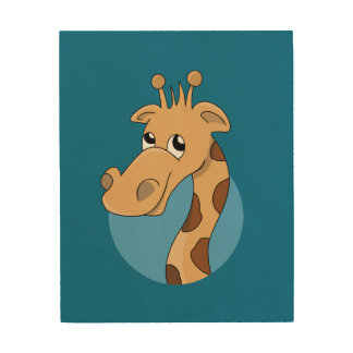 Cartoon giraffe wood wall art