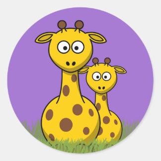 cartoon giraffes round stickers
