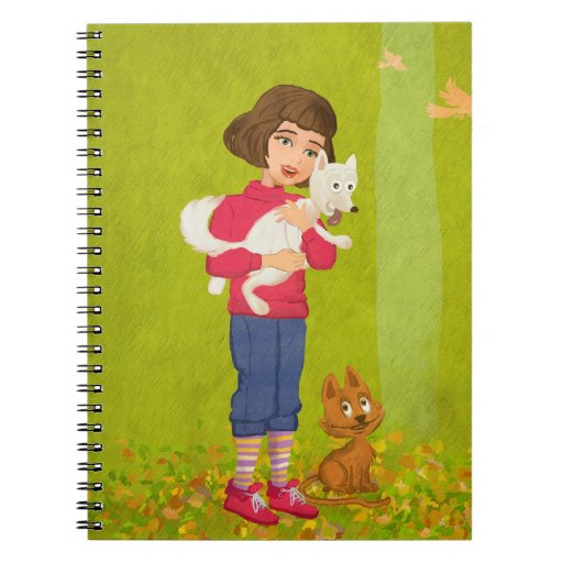 cartoon girl and funny doggy Notebook
