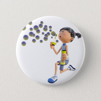 Cartoon Girl Blowing Bubbles 6 Cm Round Badge
