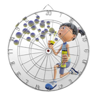 Cartoon Girl Blowing Bubbles Dartboard