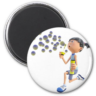 Cartoon Girl Blowing Bubbles Magnet