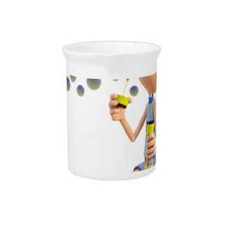 Cartoon Girl Blowing Bubbles Pitcher