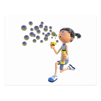 Cartoon Girl Blowing Bubbles Postcard