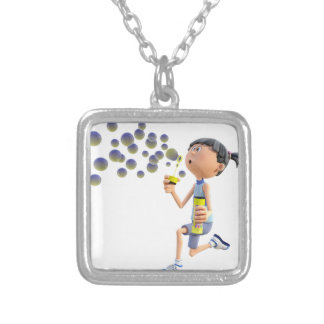 Cartoon Girl Blowing Bubbles Silver Plated Necklace