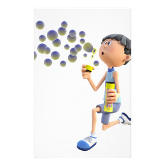 Cartoon Girl Blowing Bubbles Stationery