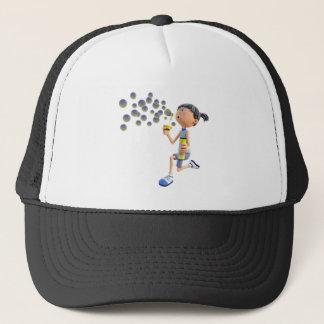 Cartoon Girl Blowing Bubbles Trucker Hat