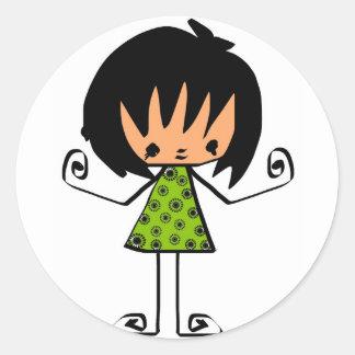 cartoon  girl classic round sticker