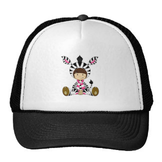Cartoon Girl in Zebra Costume Cap
