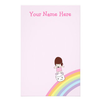 Cartoon Girl on Rainbow w Marshmallow Stationary Stationery