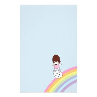 Cartoon Girl on Rainbow w Marshmallow Stationery