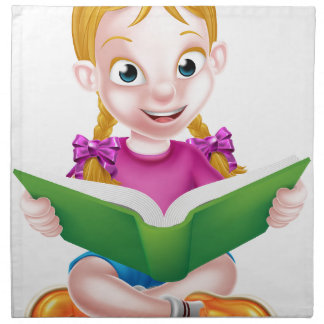 Cartoon Girl Reading Book Napkin