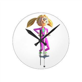 Cartoon Girl Riding a Pogo Stick Round Clock
