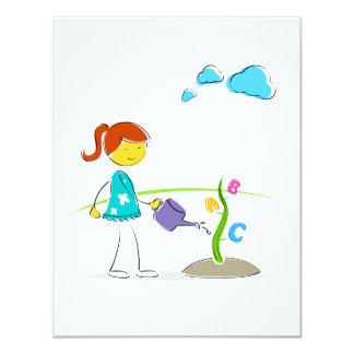 cartoon girl watering flowers eco design.png custom invites
