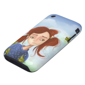 cartoon girl with green eyes Case-Mate iPhone 3G/3 Tough iPhone 3 Cover