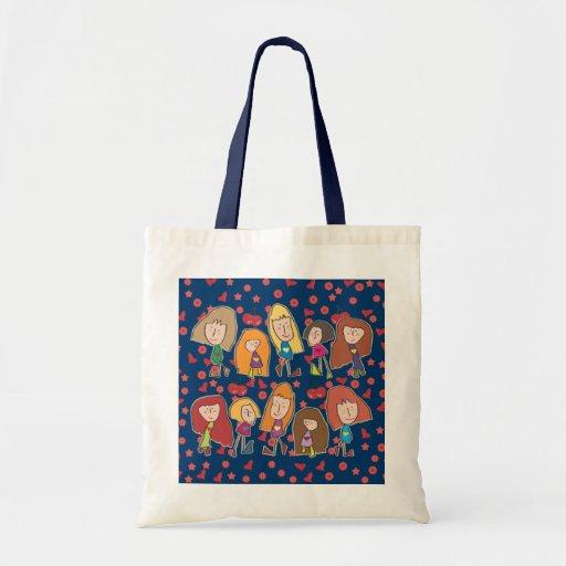 Cartoon Girls Blue Bag