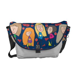 Cartoon Girls Blue Messenger Bags
