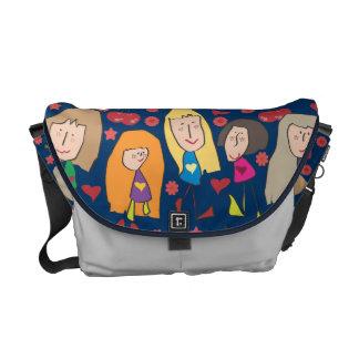 Cartoon Girls Blue Messenger Bags