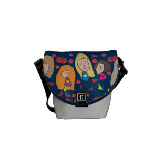 Cartoon Girls Blue Mini Messenger Bag