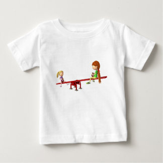 Cartoon Girls on a See Saw Baby T-Shirt