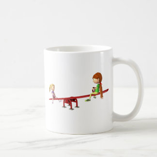 Cartoon Girls on a See Saw Coffee Mug