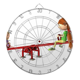 Cartoon Girls on a See Saw Dartboard
