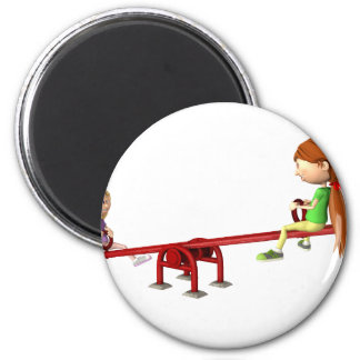 Cartoon Girls on a See Saw Magnet