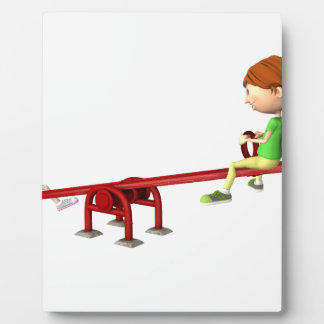 Cartoon Girls on a See Saw Plaque