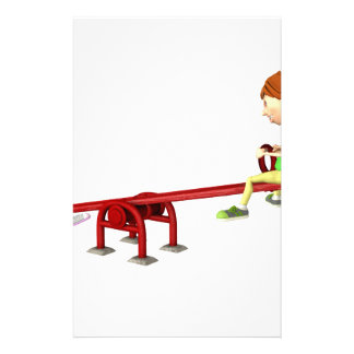 Cartoon Girls on a See Saw Stationery