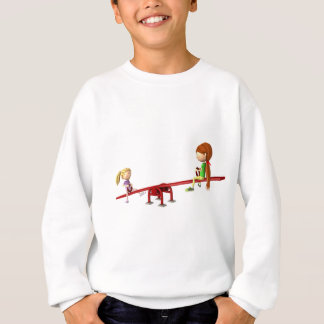 Cartoon Girls on a See Saw Sweatshirt