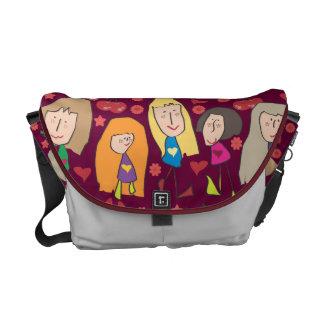 Cartoon Girls Red Commuter Bag