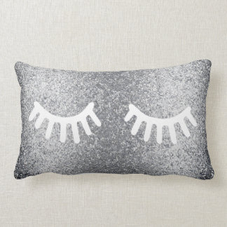 cartoon girly lashes on faux silver glitter lumbar cushion